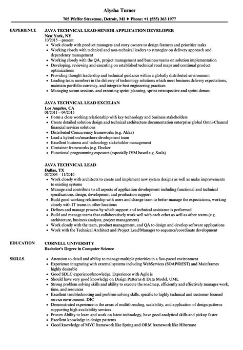 Sle Resume For Technical Lead by Java Technical Lead Resume Sles Velvet