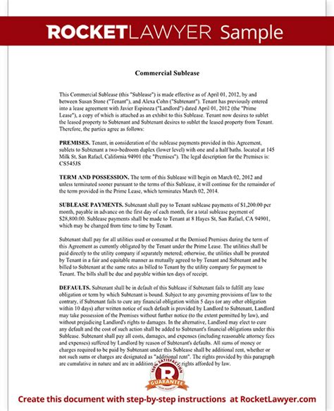 Commercial Sublet Lease Agreement Template by Commercial Sublease Agreement Office Space Sublease