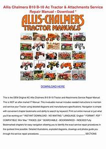 Allis Chalmers B10 B 10 Ac Tractor Attachment By Whitley