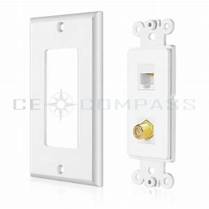 Coaxial Connector Ethernet Network Wall Plate Coax Rj45
