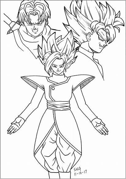 Goku Coloring Dragon Ball Zamasu Trunks Coloriage