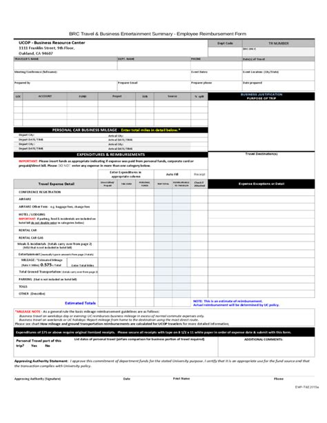 r sum template employee reimbursement form free download