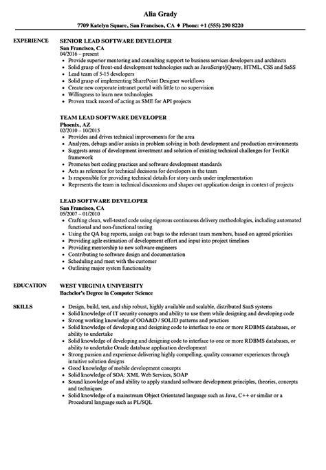 Resume M A Sle by Lead Developer Vs Senior The Best Developer Images
