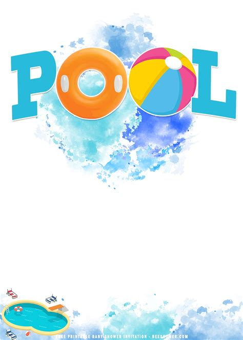 (FREE Printable) Summer Pool Birthday Party Invitation