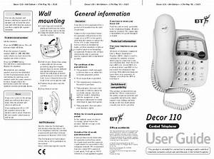 Bt Decor 110 User Manual From Telephones Online  Telephonesonlin U2026