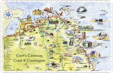 giants causeway coast countryside map  images