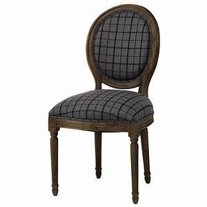 Chaise Medaillon But : chaise m daillon en tissu carreaux et ch ne gris louis maisons du monde ~ Teatrodelosmanantiales.com Idées de Décoration