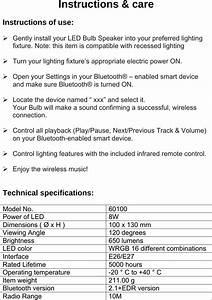 Blue Sky Wireless 60100 Led Bluetooth Light Bulb  U0026 Speaker