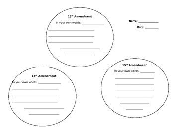 Reconstruction Amendments Worksheet By Lauren Shurley Tpt