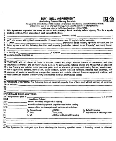buy sell agreement montana business template