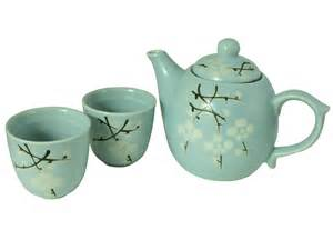 kitchen canisters blue cherry blossom collection teapot and cups set for two