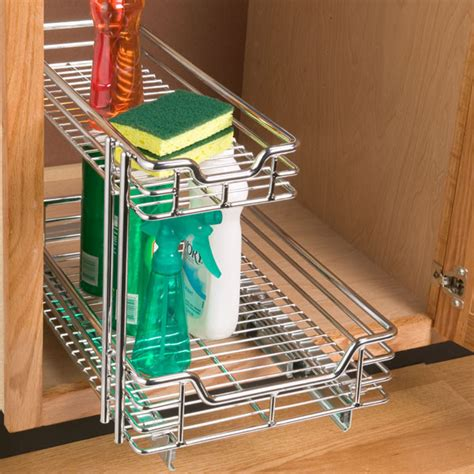 Chrome 2tier Sliding Organizer  Traditional  Pantry And