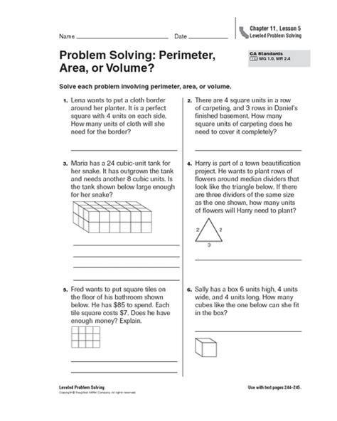 problem solving perimeter area or volume worksheet for