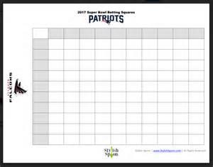 2017 Super Bowl Squares Printable