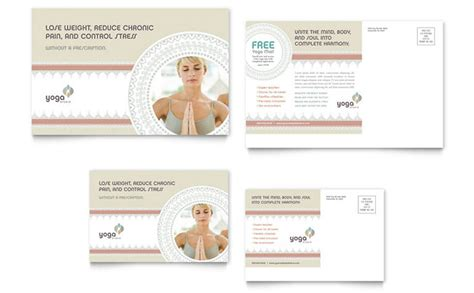 pilates yoga postcard template design