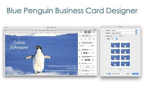 Blue Penguin Business Card Designer 2.62 Mac Os X / Avaxhome Business Card Holder Silver Engraved Leather Walmart Metal For Desk Mens Wallet And Louis Vuitton Epi Stand Kmart Icons Free Vintage