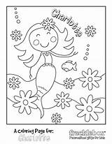 Coloring Pages Mermaid Personalized Birthday Custom Flowers Frecklebox Printable Sheets Colouring Names Mermaids Char Olivia Template Sheet Sea Drawing Adults sketch template