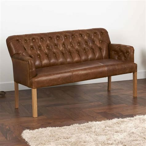 leather settee bench vintage leather curved arm sofa bench choice of sizes by
