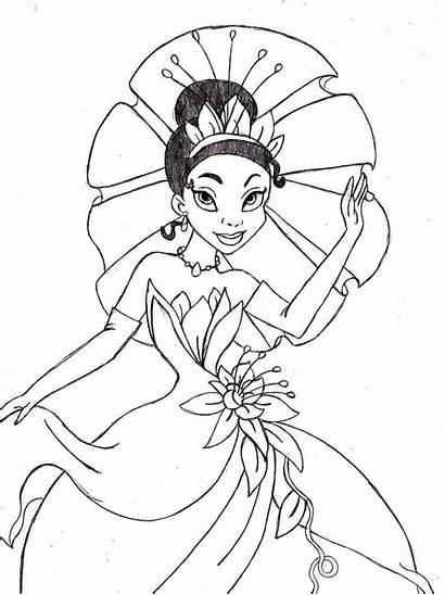 Tiana Coloring Princess Pages Disney Drawing Printable