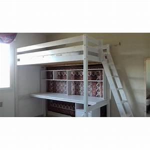 Lit Bureau Conforama : lit mezzanine 1 place bureau bois blanc conforama achat et vente ~ Teatrodelosmanantiales.com Idées de Décoration
