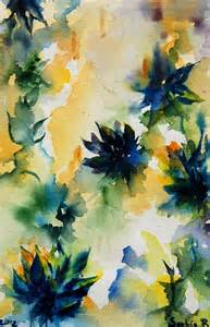 Abstract Painting Watercolor Blue Flowers