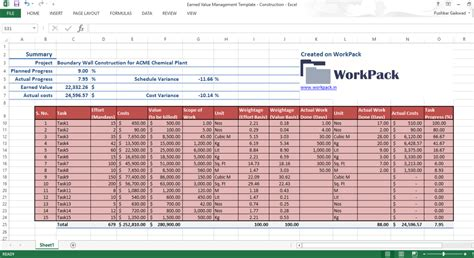 excel template  earned  management