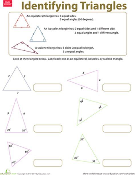 identifying triangles worksheet education