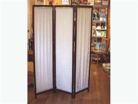 Trifold Fabric Room Divider Wood Frame Screen Outside