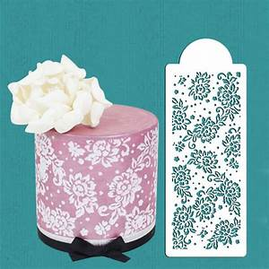 peony lace cake stencil cake side stencil cookie stencil With lace templates for cakes