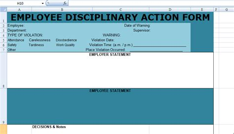 employee disciplinary action form spreadsheet excel