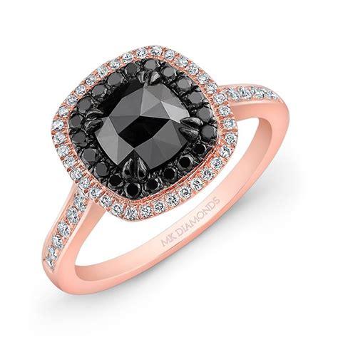 14k rose gold double halo rose cut black diamond center engagement ring
