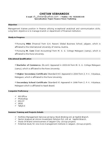 resume format  mba student  chetan vibhandik