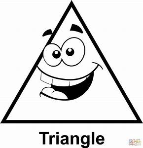 Triangle with Cartoon Face coloring page | Free Printable ...
