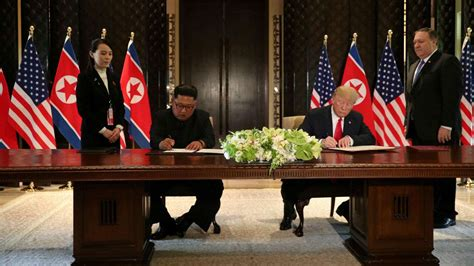 trump kim sign  comprehensive document  historic