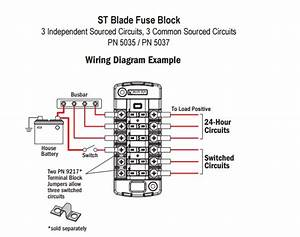 Blue Sea Systems 5035 St Blade Fuse Block For 6 Independent Circuits