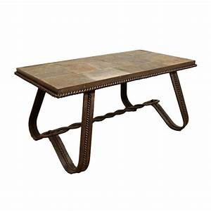 A french wrought iron and tiled stone rectangular coffee for Stone and iron coffee table