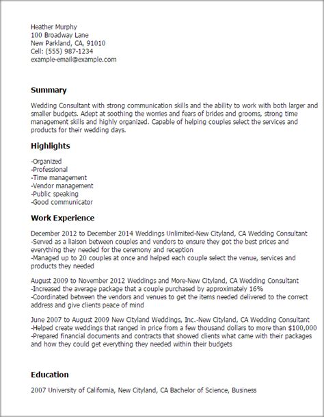 Bridal Consultant Description Resume professional wedding consultant templates to showcase your talent myperfectresume