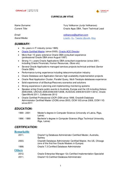 oracle certified resume sle yury s cv as of 2013 03 31