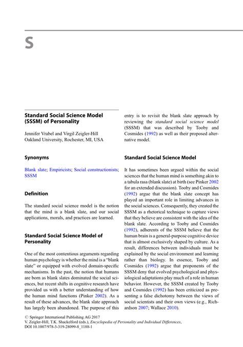 (PDF) Standard Social Science Model (SSSM) of Personality