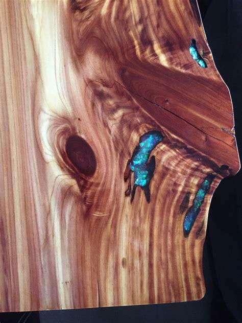 cedar wood  edge  table  epoxy inlay
