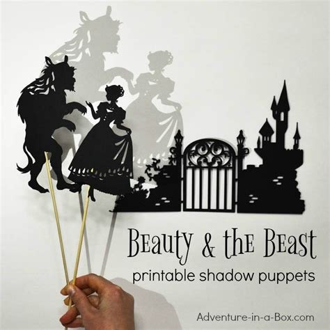 beauty  beast printable shadow puppet set adventure