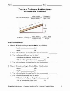 Tools And Equipment  Part I Activity  U2013 Inclined Plane