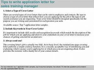 sales training manager application letter With how to write application letter for training course
