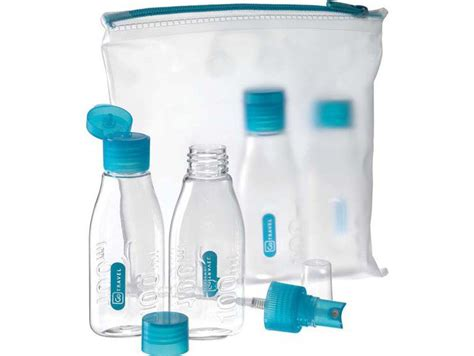 trousse de toilette transparente avion kit flacons de voyage avion design go kit voyage avion