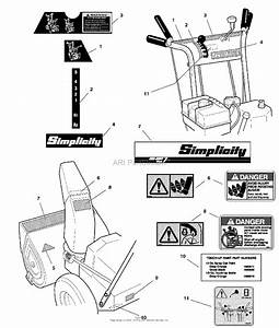Simplicity 1694439 - 960e  9hp 24 U0026quot  Snowthrower Parts Diagram For Decals Group
