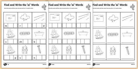 Find And Write The Ai Words Differentiated Worksheet