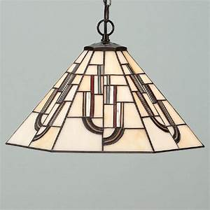 Ceiling pendant with modern art deco tiffany stained glass