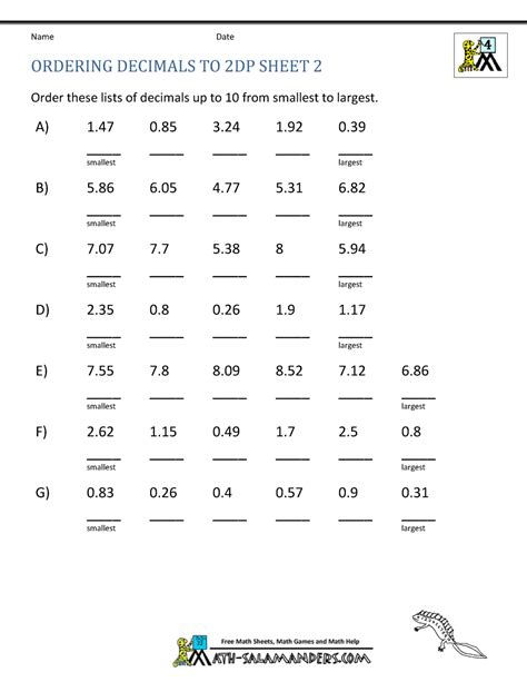 worksheets decimal numbers math worksheets 4th grade ordering decimals to 2dp