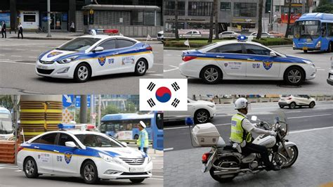 Seoul (south Korea) Police Cars With Lights [compilation