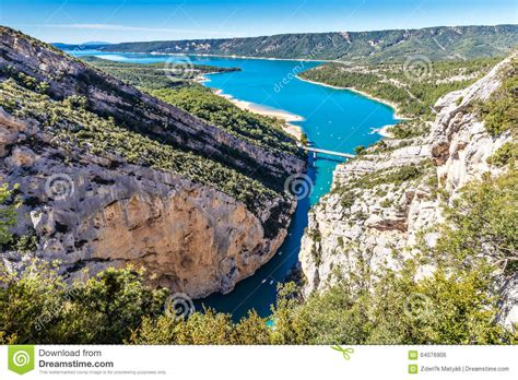 les chais de sainte croix gorges du verdon bridge sainte croix lake stock photo image 64076906